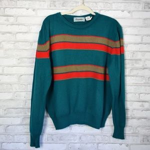 Vintage Crew Neck Pullover Sweater Teal & Red Med